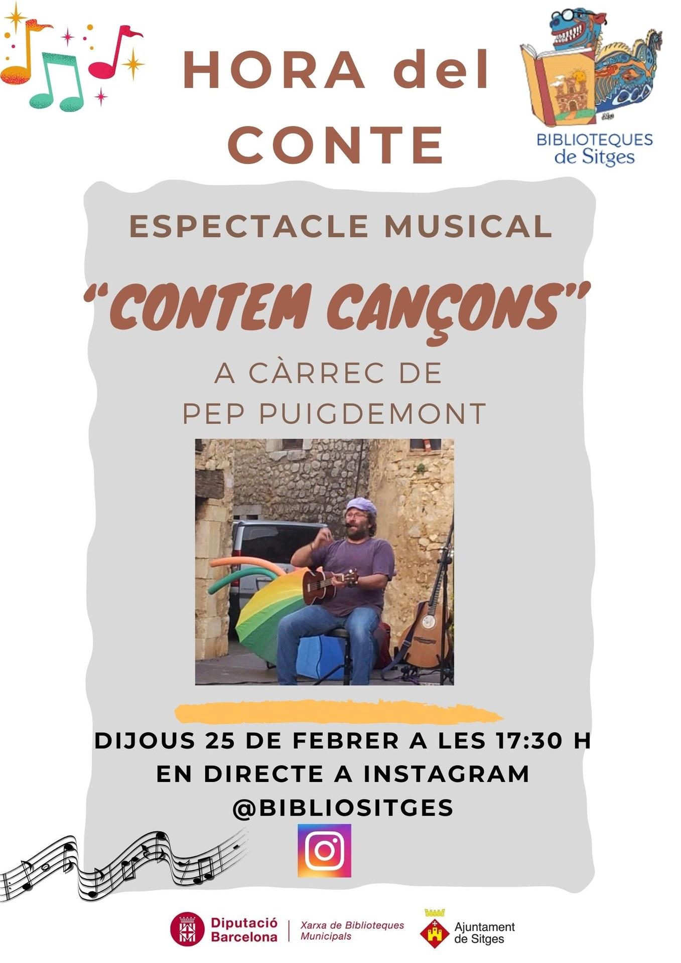 Hora del Conte. Espectacle musical 'Cantem cançons', a càrrec de Pep Puigdemont -En directe per Instagram @bibliositges-