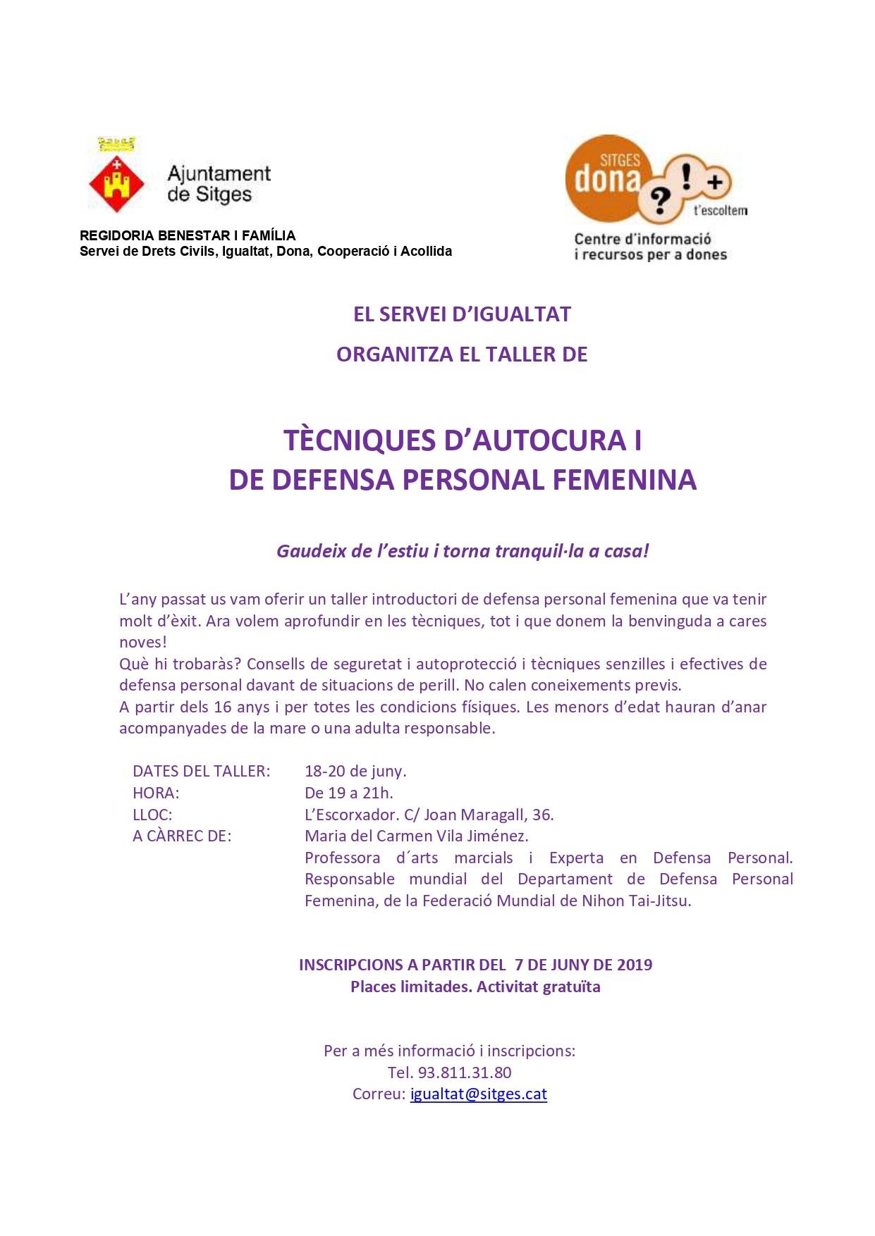 Taller de tècniques d'Autocura i de Defensa Personal Femenina