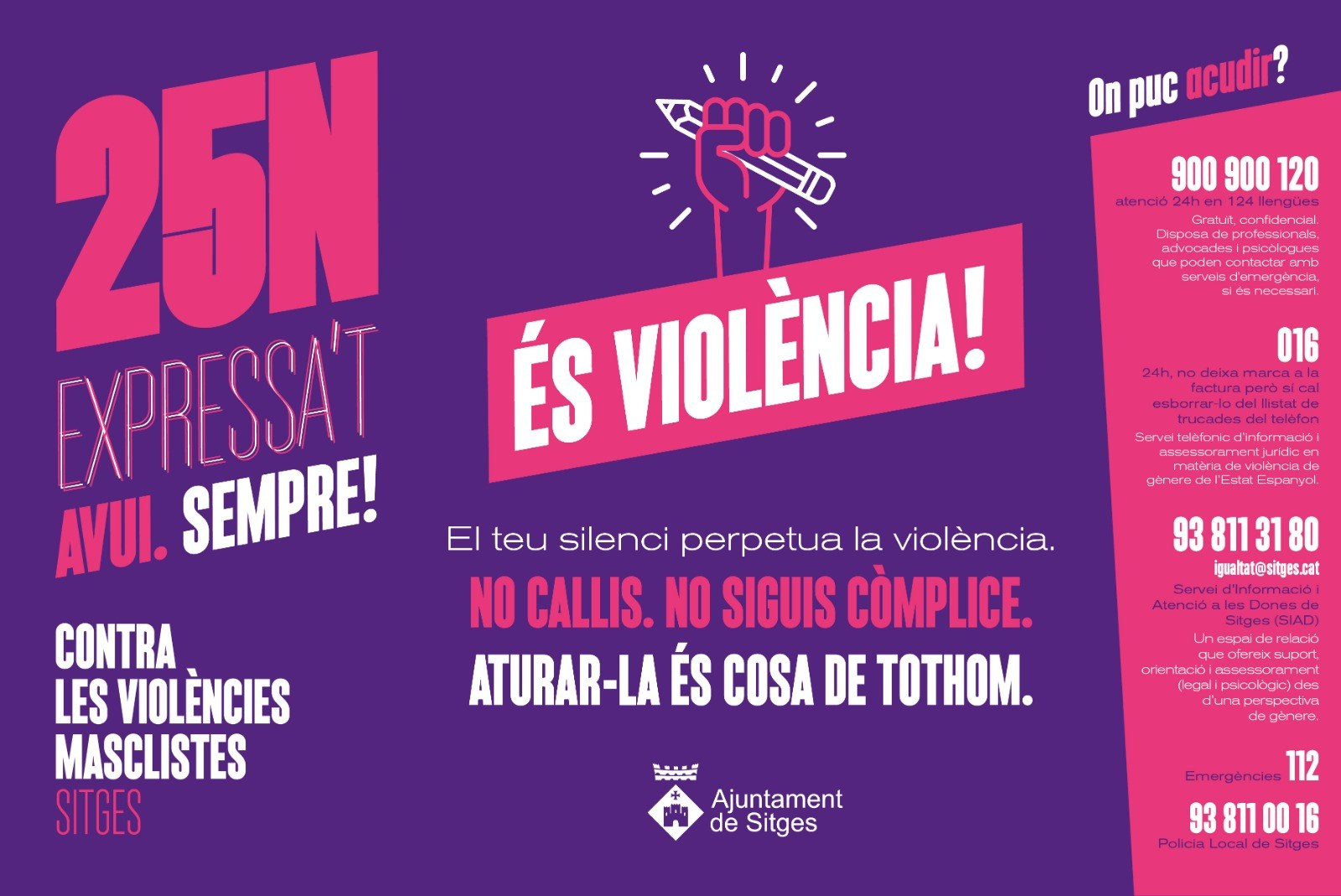 L'Ajuntament inicia una campanya per combatre les violències masclistes