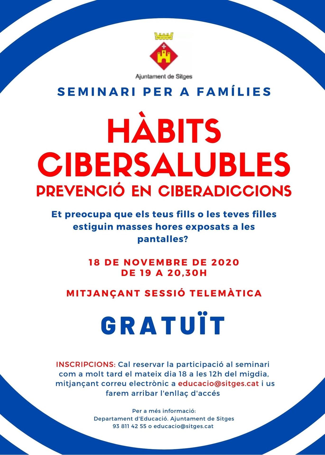 La regidoria d'Educació organitza aquest dimecres un  seminari per a famílies sobre hàbits cibersaludables de prevenció en ciberaddiccions