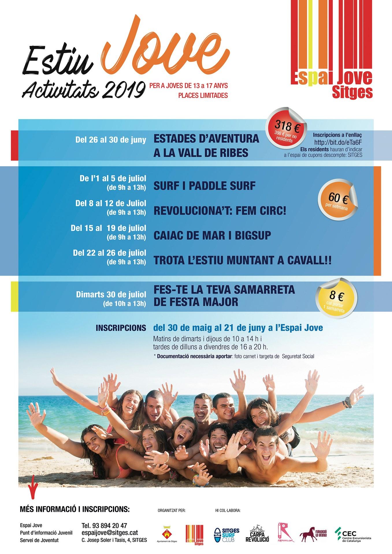 La regidoria de Joventut organitza activitats d'estiu adreçades a joves de 13 a 17 anys