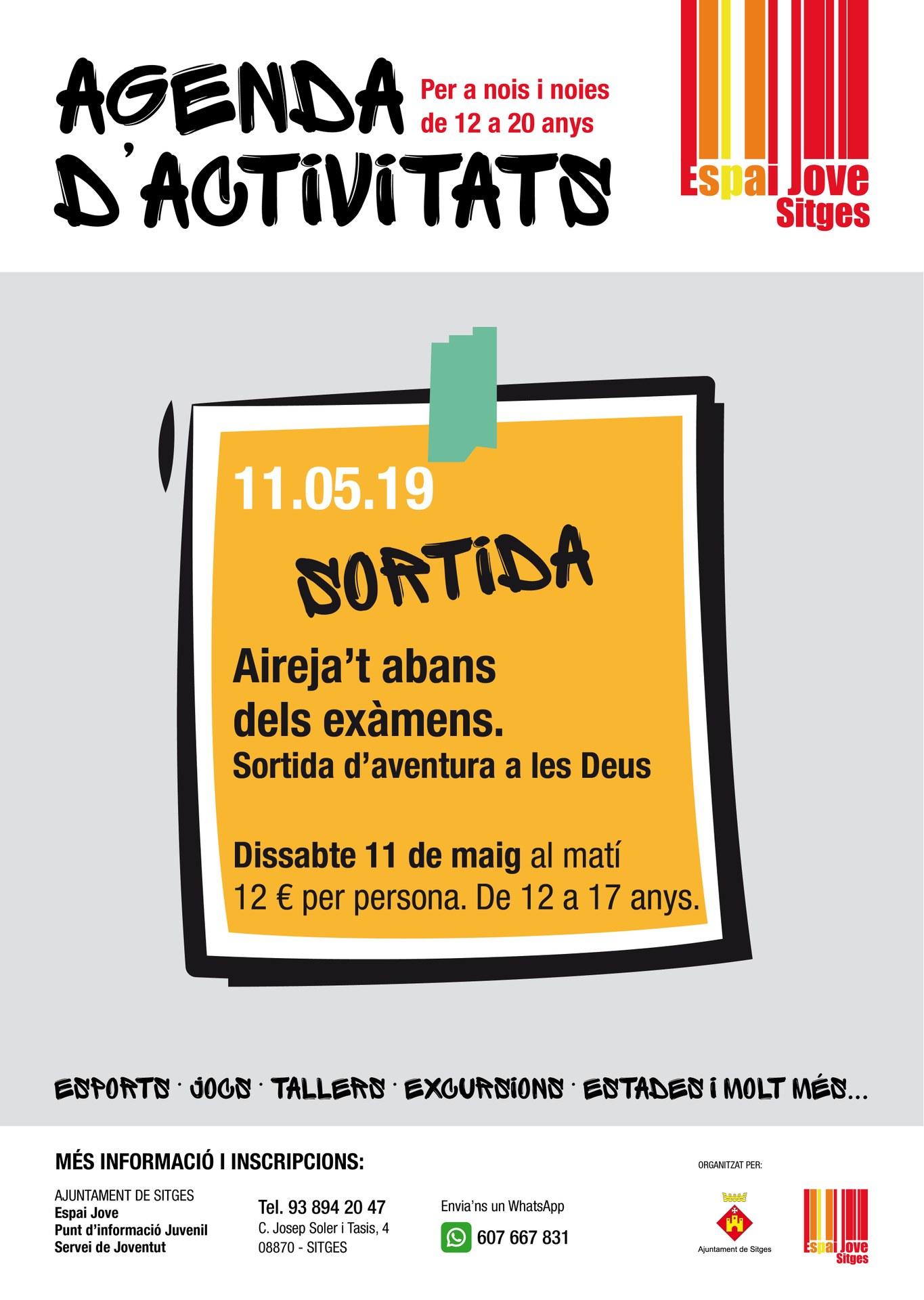 La regidoria de Joventut organitza per a l'11 de maig un excursió a Les Deus Aventura