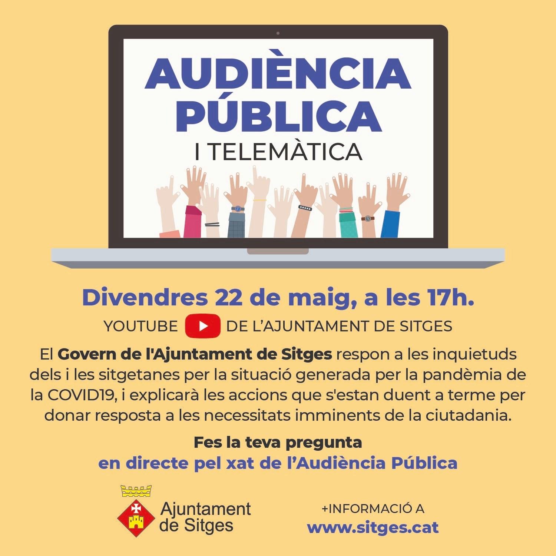 L'Ajuntament de Sitges convoca aquest divendres la segona audiència pública telemàtica sobre la Covid-19