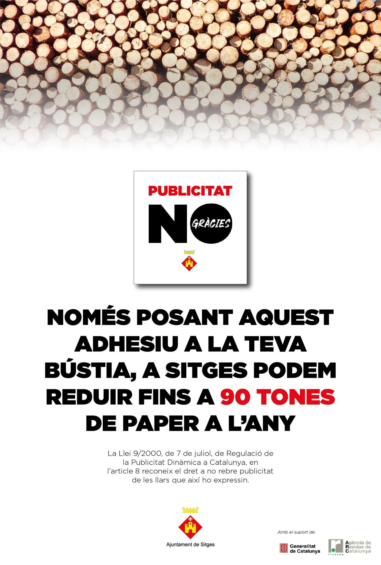"""El PLPR de Sitges planteja tretze accions, entre les quals la campanya """"Publicitat NO, gràcies"""" per reduir paper"""